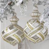 Gold, Silver and Pearl Lattice Ornaments -  PerfectlyFestive