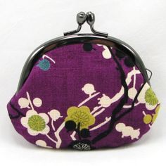 Small Coin Purse - Japanese Ume Plum Flower Purple