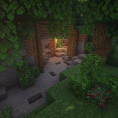 Minecraft cave entrance Villa Minecraft, Minecraft Cave House, Minecraft Farm, Minecraft Structures, Easy Minecraft Houses, Minecraft Castle, Minecraft Medieval, Minecraft Plans, Minecraft House Designs