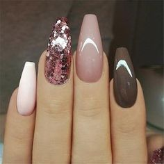 Ballerina Nail Art Tips Transparent/Natural False Coffin Nails Art Tips Flat Shape Full Cover Manicure Fake Nail Tips The post Ballerina Nail Art Tips Transparent/Natural False Coffin Nails Art Ti appeared first on Nageldesign. Trendy Nails, Cute Nails, Fancy Nails, Acrylic Nail Designs, Nail Art Designs, Nails Design, Brown Nail Designs, Glitter Nail Designs, Neutral Nail Designs