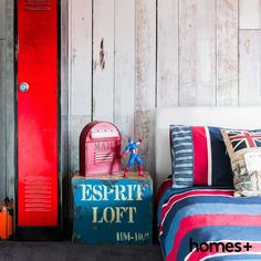 A was seen in Melissa's son's seen in the May 2015 issue of homes+. British Decor, Contemporary Style Homes, House And Home Magazine, Interior Inspiration, Lockers, London, Pillows, Bedroom, Table
