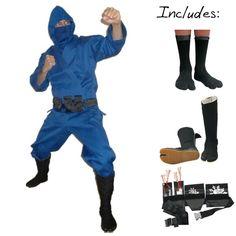 Deluxe Blue Modern Ninja Costume (4pc)