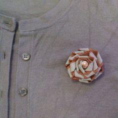 cotton binding flower brooch by NinjaChipmunk on Etsy, £5.00