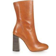 Chloé Leather calf-length boots ($885) ❤ liked on Polyvore featuring shoes, boots, tan, leather ankle bootie, tan ankle boots, bootie boots, mid-calf boots and ankle boots