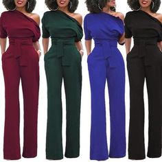 a5134ee2aaed 2017 Women s Sexy One Off Shoulder Jumpsuits solid color Wide Leg Long Pants  with Belt