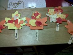 """This a creative """"repurposing"""" of foam leaves from an old bulletin board.  Kids…"""