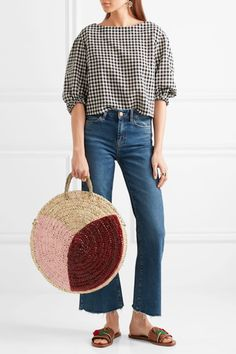 A beach vacation packing list: Round straw bags are an easy statement piece during travel. Beach Vacation Packing List, Round Straw Bag, Spring Fashion 2017, Straw Tote, Tonne, Casual Bags, Everyday Fashion, My Style, How To Wear