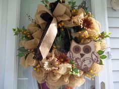 ~ Primitive~ Door/Wall~ XL Wreath~ Mesh~Burlap~Large Owl~Ivy~Handmade #Handmade Door Wall, Mesh Wreaths, Deco Mesh, Ivy, Primitive, Burlap, Doors, Handmade, Ornaments