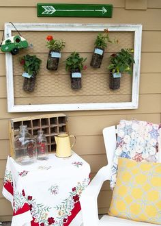 Hanging Mason Jar Garden - Today I am sharing my super simple - totally fun- easy peasy Mason Jar Wall Garden with you! Here's the story: I had a boring blank w…