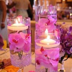 Table Candles w/ Flowers