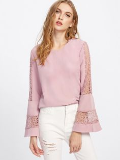 Bell Sleeve Lace Cut Out Blouse -SheIn(Sheinside) - moda Blouse Styles, Blouse Designs, Lace Sleeves, Bell Sleeves, Ruffle Sleeve, Flutter Sleeve, Ruffle Blouse, Fashion Sewing, Ladies Dress Design