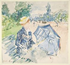 Berthe Morisot watercolor, Woman Seated at a Bench on the Avenue du Bois, 19th century