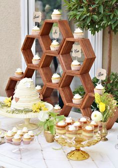 Buy wood hexagons and stain to create this charming dessert table