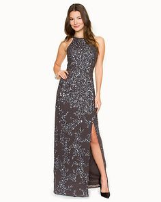 Sequin Halter Gown - Glittery Bridesmaids Dress from Le Chateau