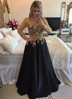 Lace Black Puffy Pearls Gold Long-Sleeves Appliques A-line Prom Dresses_High Quality Wedding Dresses, Prom Dresses, Evening Dresses, Bridesmaid Dresses, Homecoming Dress - 27DRESS.COM