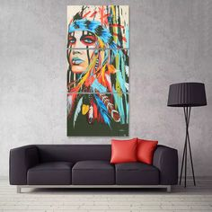 Modern Abstract Canvas Painting Frameless Wall Art Indian Woman Bedroom Living Room Home Decor Colorful Wall Art, Colorful Paintings, Colorful Decor, Wall Prints, Canvas Art Prints, Abstract Canvas, Canvas Paintings, Home Decor Online, Rooms Home Decor