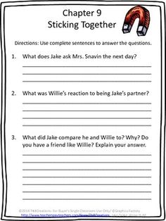 Jake Drake: Jake Drake, Know-It-All by Andrew Clements is a story that your students will love!  In this product you will receive printable chapter-by-chapter reading comprehension questions worksheets, a worksheet reviewing characters, setting, problem, and solution, a making a prediction worksheet, a cover page and a My Rating page. All worksheets have space for student response.