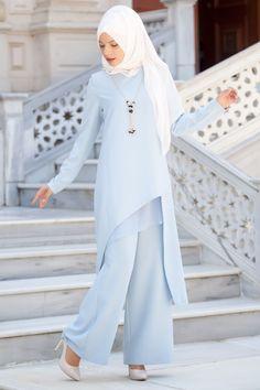 Kombin Kolyelı Tunık pantolon Kombin Takım Buz Mavi http://www.sedanur.com/kombin-kolyeli-tunik-pantolon-kombin-takim-buz-mavi/