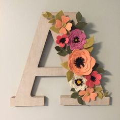 Felt Flower Letter decorations, custom, Initials, A by CrowdedTeepee on Etsy Flower Letters, Diy Letters, Letter A Crafts, Wooden Letters, Flower Crafts, Diy Flowers, Fabric Flowers, Paper Flowers, Felt Flowers Patterns