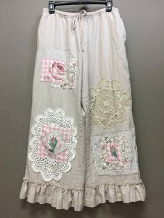 Upcycled Shabby Chic Bloomers Boho Linen Pants Cottage Chic
