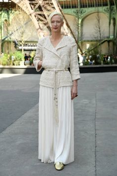 Tilda Swinton attends the Chanel Haute Couture Fall/Winter 20172018 show as part of Haute Couture Paris Fashion Week on July 4 2017 in Paris France