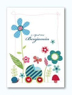 Baby- & Geburtskarten - Karte zur Geburt oder Taufe 02 - ein Designerstück von Liebesdienst bei DaWanda