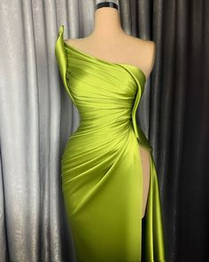 Lime green gown by LenaBerisha Glam Dresses, Event Dresses, Couture Dresses, Pretty Dresses, Fashion Dresses, Formal Dresses, Hijab Fashion, Couture Mode, Couture Fashion