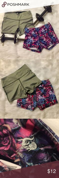 Gym Shorts duo Cute shorts! Pink floral one is super soft! Only worn a few times. Shorts