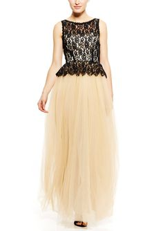 #HotToDef! Simple  Class. Sleeveless Lace Upperbodice Gown with Tulle Skirt