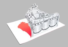 Folding postcard able to be vertically self-standing and representing an ironic interpretation of Paolina Borghese as portrayed by Antonio Canova, one of the most celebrated icons of female beauty. Designed by Ludovica and Roberto Palomba for the Galleria Borghese, Rome.