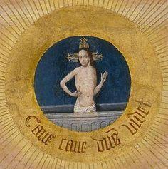 """Virtudes, Vícios E Pecados...    """"Os Sete Pecados Mortais E As Quatro Últimas Coisas"""",  Hieronymus Bosch, concluída por volta de 1500 ou mais tarde. A pintura é óleo sobre painel de madeira. No detalhe do centro do grande círculo, a representação do olho de Deus, Cristo pode ser visto surgindo. Abaixo desta imagem é a Latin inscrição Gruta Deus Videt, 'Cuidado, cuidado, Deus vê'."""