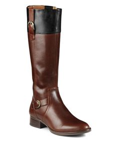 Look what I found on #zulily! Brown & Black York Leather Regular & Wide-Calf Boot #zulilyfinds