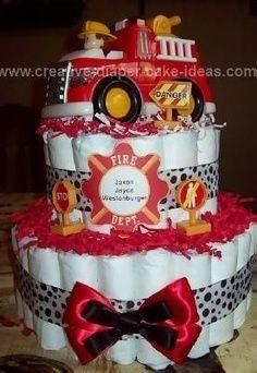 Fire Truck Baby Shower Ideas | Hand painted large glass gems party favors firemen fireman…