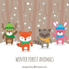 Pretty forest animals with hat and scarf Free Vector