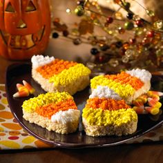 The kids will love frosting this giant, candy-corn shape for a festive snack the whole family can share.