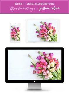 Digital Blooms Desktop Wallpaper 1   May 2016 // JustineCelina.com x Rebecca Dawn Design