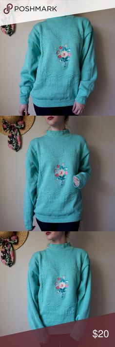 """Kawaii Pastel Vintage Cotton Sweater Made in USA Item: Kawaii Pastel Vintage Cotton Spring Sweater Made in USA Size: XL Brand: Lady Pinnacle Color: A light teal/turquoise color  Style: Mock neck 100% cotton sweater with floral embroidery on the front Condition: No holes or stains found Length: 25.5 in Bust: 44 in Weight of item: 1 lb 1 oz Model's Measurements: 5'2"""", 100lbs, size 0, 32B, waist 24-25 in  Fit on Model: Oversized on my figure Vintage Sweaters Cowl & Turtlenecks"""