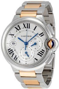 Cartier Ballon Bleu de Cartier Extra Large Watch W6920063 : Stainless steel case with a stainless steel and 18kt rose gold bracelet. Fixed stainless steel bezel. Silvered flinque dial with sunray fini