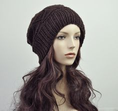 hand knit wool Hat Brown woman hat