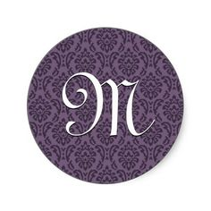 #Purple #Monogram #Initial #Damask #Wedding #Sticker