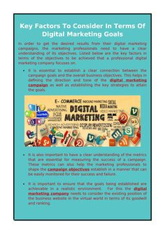 In order to get the desired results from their digital marketing campaigns, the marketing professionals need to have a clear understanding of its objectives. Marketing Goals, The Marketing, Digital Marketing, Marketing Professional, Google Ads, Factors, Seo, Campaign, How To Get