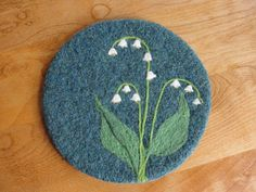 Wool Felted Hotpad/Trivet with Needle Felted Lily of the Valley Design Felted Soap, Wet Felting, Needle Felting, Yarn Crafts, Felt Crafts, Wool Yarn, Wool Felt, Felt Coasters, Felt Brooch