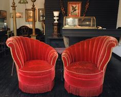 Asymmetrical Fan Back Chairs— kind of half Art Deco and half Victorian. 1930s Furniture, Art Deco Furniture, Cool Furniture, Red Velvet Chair, Velvet Chairs, 1930s Decor, Art Deco Chair, Wallpaper Furniture, Art Deco Home