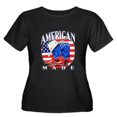 Good Artsmith, Inc. Womens Plus Scoop Drk T-Shirt American Made Country Cowboy Boots and Hat
