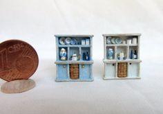 mobile contenitore per vasellame e piatti in legno dipinto, con accessori, scala 1/120♡ ♡