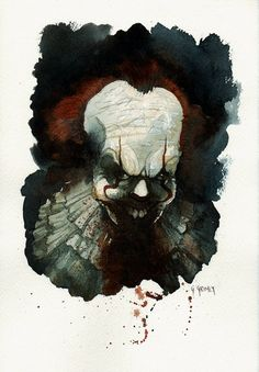 Comic Art For Sale from RomitaMan Original Art, Pennywise Painted Pinup by Comic Artist(s) Gris Grimly