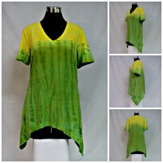 Size Small lime green and yellow tie dye tunic top with shark bite hemline, vee neck and short sleeves. by qualicumclothworks on Etsy