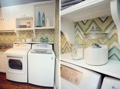 Love the fun wallpaper in a laundry room :) Great way to cheer up an otherwise dull room.