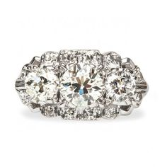 Noblesville is a stunning vintage three stone diamond engagement ring from the Art Deco era! TrumpetandHorn.com // $5,300