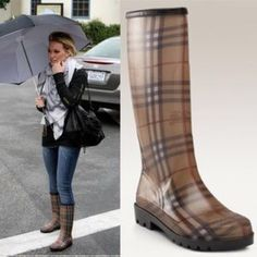 Burberry Women's House-check Rubber Rain Boots The traditional check pattern on a beige background that fashionistas know and love is front and center, while a rounded-toe design adds a subtle feminine touch to your rainy day gear. A padded footbed makes sure that comfort isn't sacrificed for style.  Heel height type: 1.25-inch flat Shaft height: 12 inches Circumference: 13 inches Lining: Fabric Sole: Rubber Footbed: Padded Made in Italy. Shoe runs small! I'm normally a 9 and had to purchase…